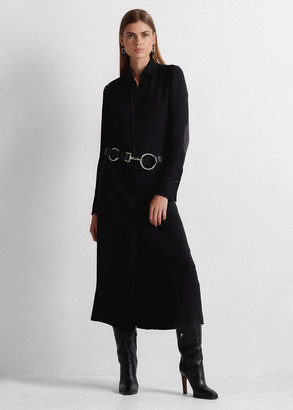Ralph Lauren Aliyah Satin-Patch Silk Day Dress