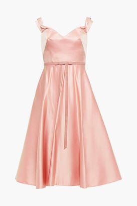 Marchesa Notte Flared Bow-embellished Satin Gown