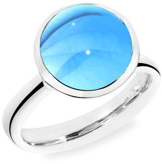 Tamara Comolli Large Bouton 18K White Gold & Swiss Blue Topaz Ring