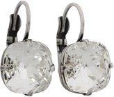 Liz Palacios Silvertone Large Cushion Crystal Earrings, JE-6 Clear Crystal