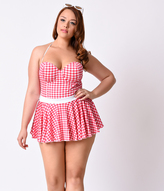 Bettie Page Plus Size Vintage 1950s Pin-Up Red & White Gingham Flared Bandeau Swimsuit