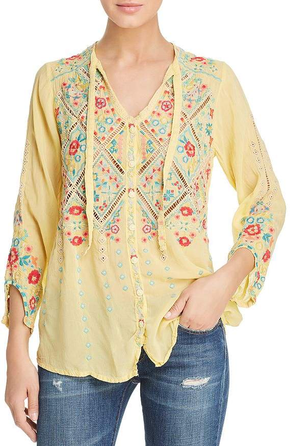 Johnny Was Los Angeles Arges Embroidered Blouse