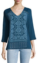 Style And Co. Embroidered V-Neck Tunic