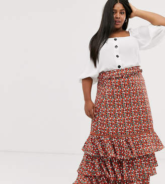 Glamorous Curve midi skirt with ruffle layers in ditsy floral