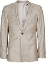 Stone Crosshatch Wool Skinny Fit Suit Jacket