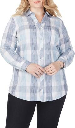 Foxcroft Crinkled Buffalo Check Tunic Shirt