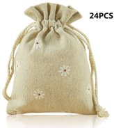 Allure Maek Pack of 24pcs White Flowers Double Drawstring Cotton Linen Jute Cloth Sack Muslin Bags Jewelry Pouch Reusable Bags Tea Bags Souvenir Gift Bag
