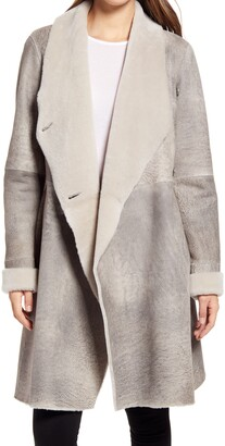 HiSO Evelyn Genuine Shearling Wrap Coat