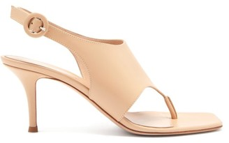 Gianvito Rossi Slingback 70 Square-toe Leather Sandals - Nude