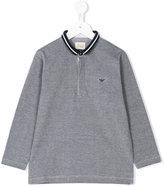 Armani Junior contrast collar polo shirt - kids - Cotton/Spandex/Elastane - 4 yrs