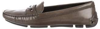 Prada Leather Round-Toe Loafers
