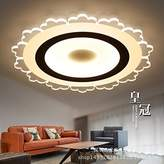 Cttsb Personalized fashion creative modern minimalist ceiling light Round bedroom ultra-thin atmosphere led living room warm round bedroom restaurant study, warm light, 520MM-40W