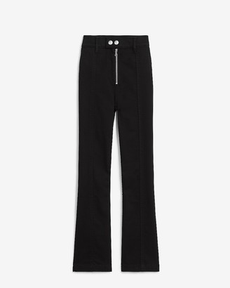 Express High Waisted Zip Front Cropped Flare Pant