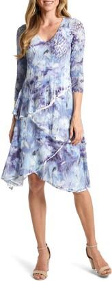 Komarov Floral Tiered V-Neck Dress