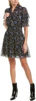 Rebecca Taylor Clipped Silk-Blend A-Line Dress