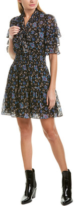 Rebecca Taylor Clipped Silk-Blend A-Line Dress