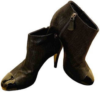 Chanel Black Cloth Ankle boots