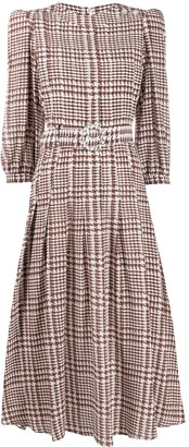 Alessandra Rich Tweed-Print Flared Midi Dress