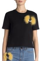 Fendi Fur Monster Cropped Cotton Tee