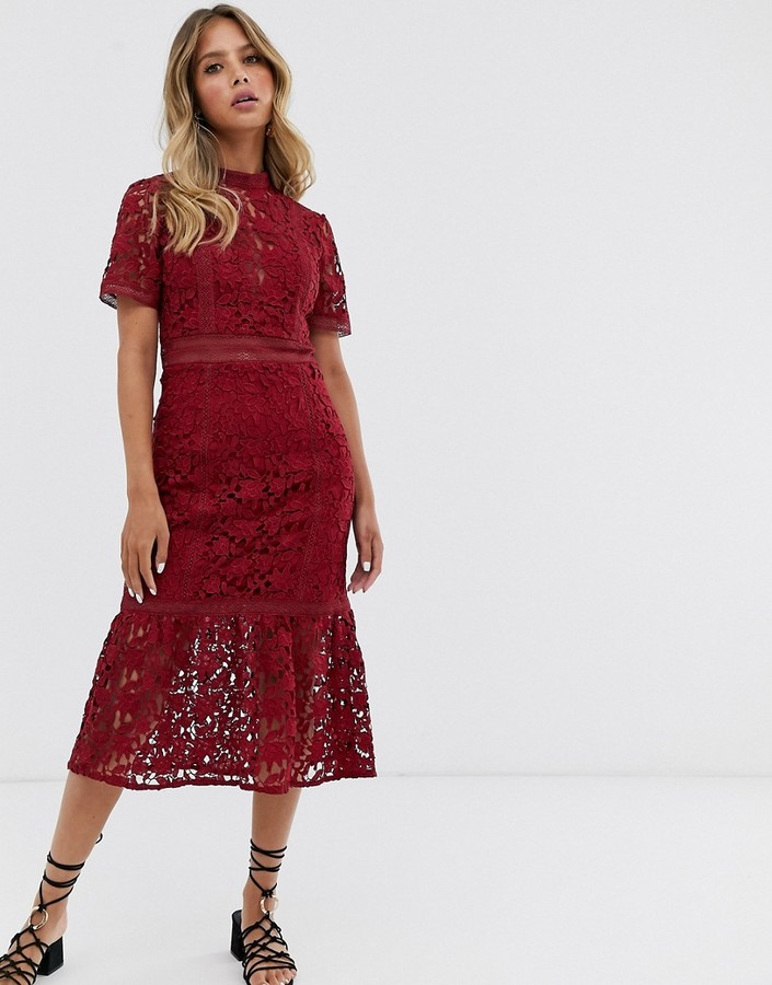 Forever New lace midi panel dress in raspberry