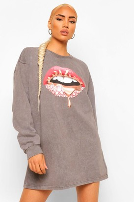 boohoo Acid Wash Lip Print Sweater Dress
