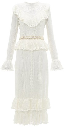 Zimmermann Allia Shell-belt Cotton-crochet Midi Dress - Womens - White