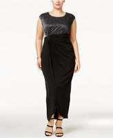 Connected Plus Size Crinkled Metallic Faux-Wrap Gown
