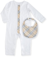 Burberry Merry Cotton Jersey Coverall w/ Bib, White, Size 3-24 Months
