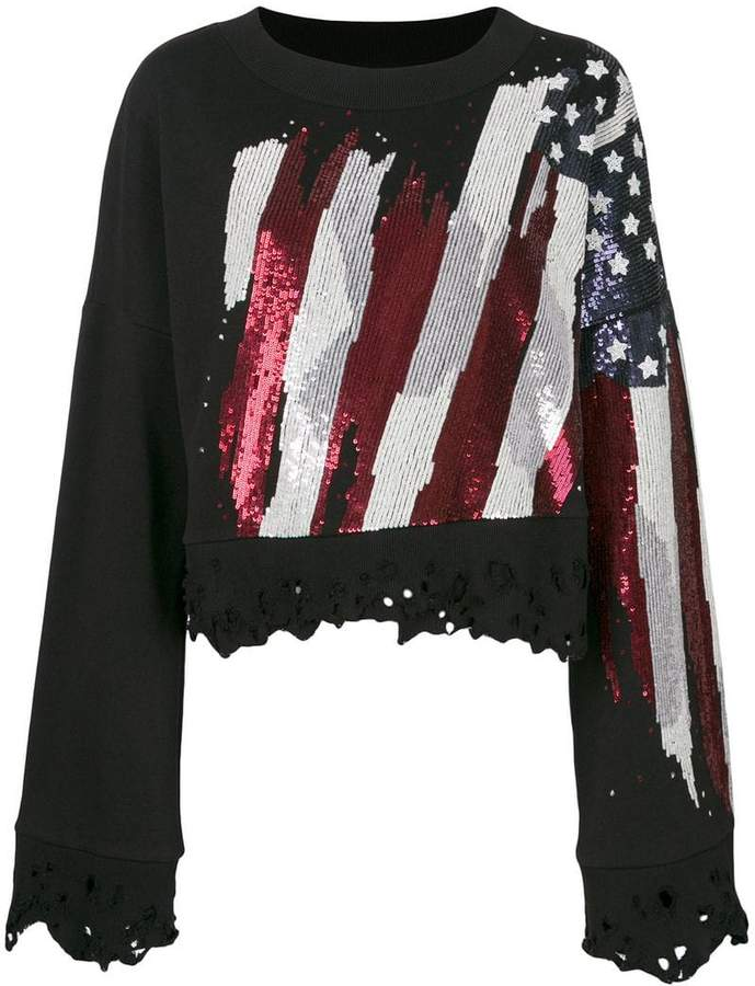 Amen distressed flag embellished sweatshirt