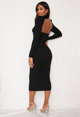 Missguided Black Cut Out Back Knitted Midaxi Dress