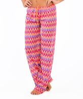 Luli Fama Orange & Multi-Color Chevron Cover-Up Pants
