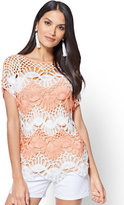 New York & Co. Scalloped Open-Crochet Top