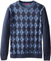 Izod Men's Big-Tall Textured Argyle Crew Neck Sweater,