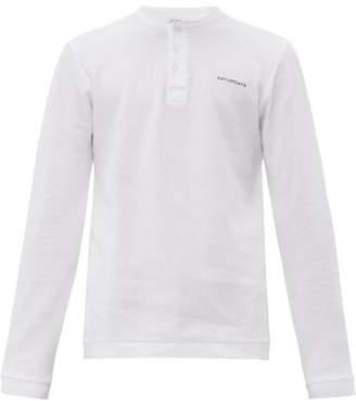 Saturdays NYC Mitch Honeycomb Knit Cotton Henley Top - Mens - White