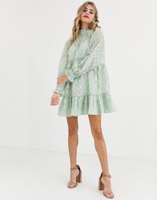 Asos Design DESIGN high neck tiered mini smock dress in textured organza-Green