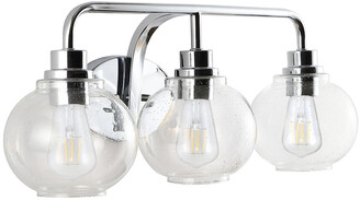 Jonathan Y Designs Sandrine 26.25In 3-Light Iron/Seeded Glass Cottage Rustic Led Vanity Light