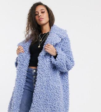 ASOS DESIGN Petite luxe borg coat in blue