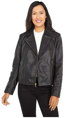 Cole Haan Lamb Leather Zip Front Jacket with Quilted Sleeve Detail (Black) Women's Clothing