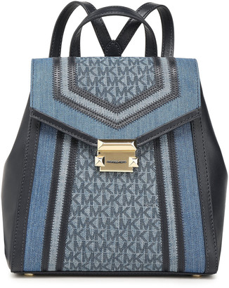 MICHAEL Michael Kors Whitney Logo-print Denim And Faux Leather Backpack