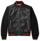 McQ Panelled Leather Bomber Jacket - Black