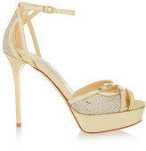 Jimmy Choo Laurita Glittered Leather Sandals - Gold