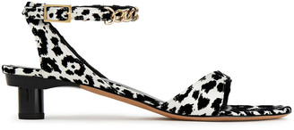 Tibi Chain-trimmed Leopard-print Flocked Satin Sandals