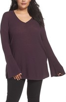 Sejour Plus Size Women's Ribbed Bell Sleeve Sweater