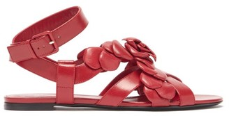 Valentino Atelier Petal-effect Leather Sandals - Dark Red