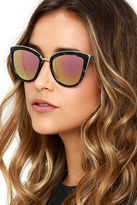 LuLu*s Stun and Go Black Tortoise and Pink Sunglasses