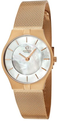 Ingersoll Obaku Women's Quartz Watch with Mother of Pearl Dial Analogue Display and Rose Gold Stainless Steel Bracelet V122LVWMV