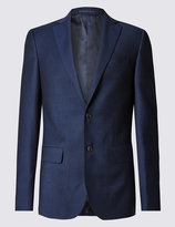 Marks And Spencer Blue Textured Tailored Fit Suit