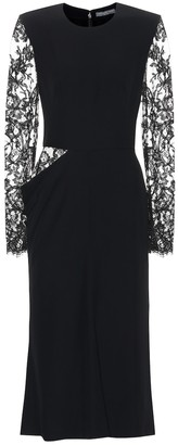 Alexander McQueen Crepe midi dress with lace
