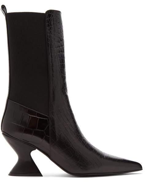 Marques Almeida Marques'almeida - Hourglass Heel Leather Chelsea Boots - Womens - Black