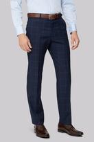 Moss Esq. Regular Fit Navy Windowpane Trousers
